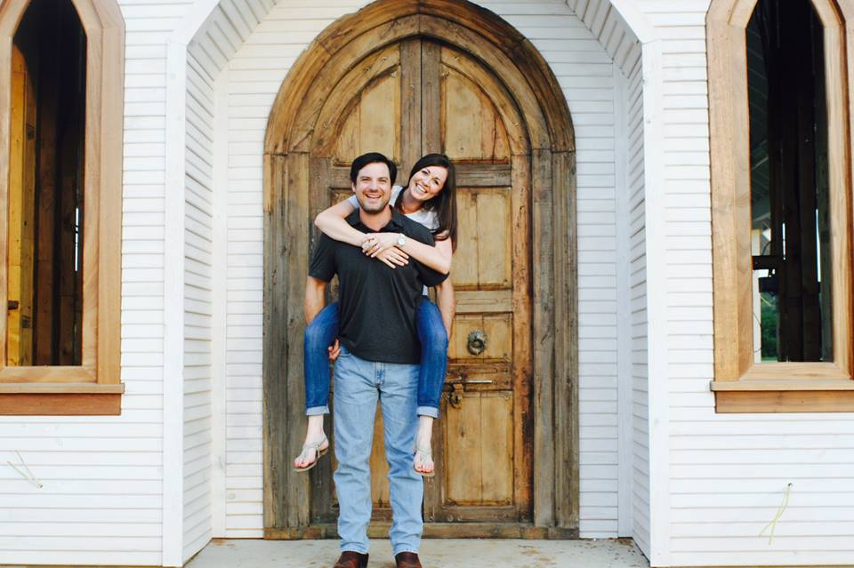 Matt and Jenn in front of chapel door
